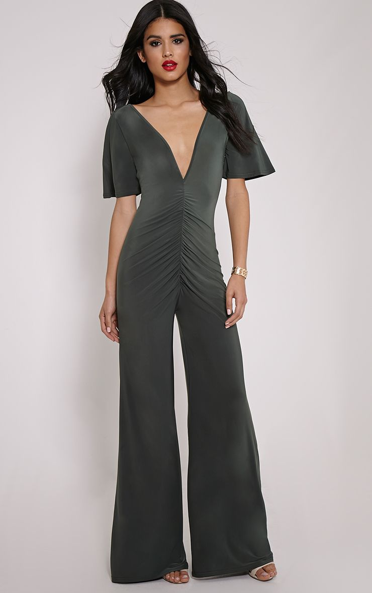 Valora Khaki Slinky Ruched Front Jumpsuit 1