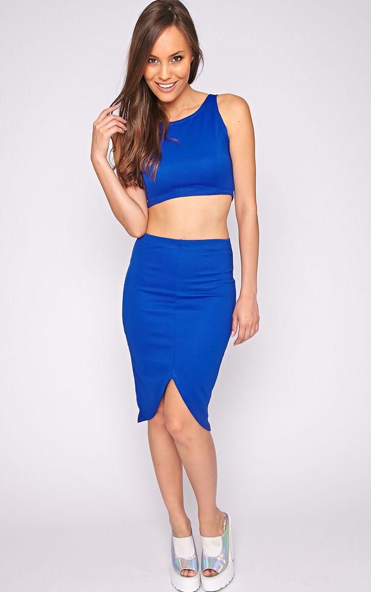Tia Cobalt Textured Midi Skirt 1