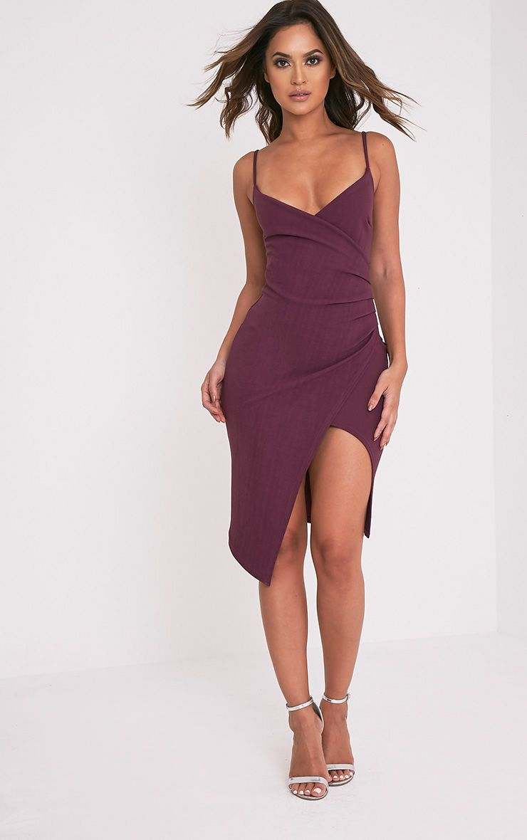 Lauriell Aubergine Wrap Front Crepe Midi Dress