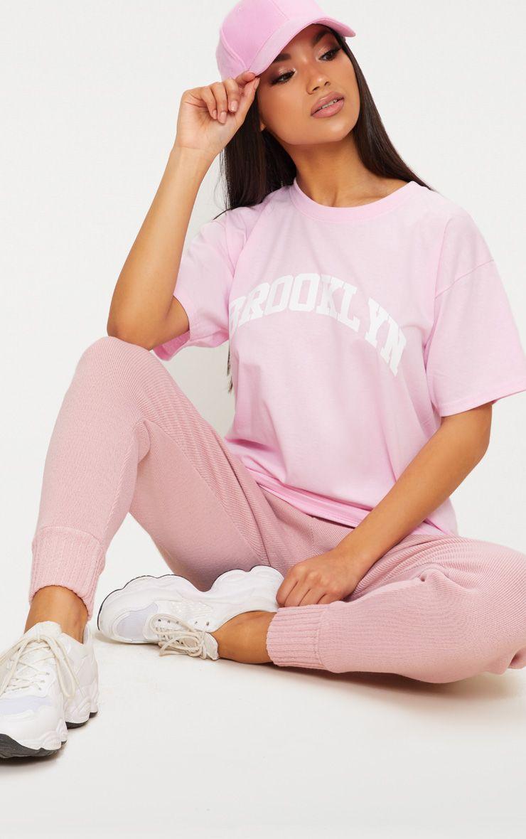 Pink Brooklyn Slogan Oversized T Shirt