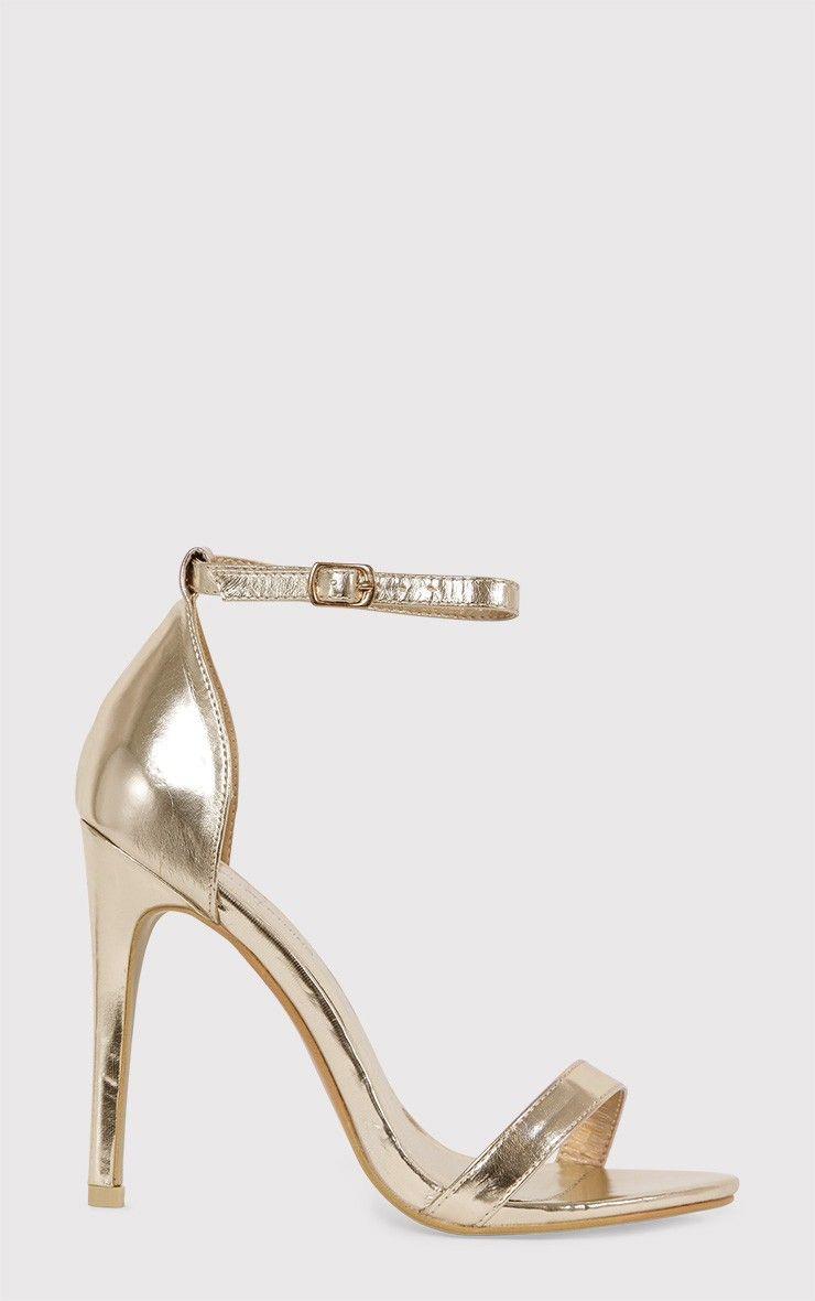 Clover Gold Metallic Strap Heeled Sandals