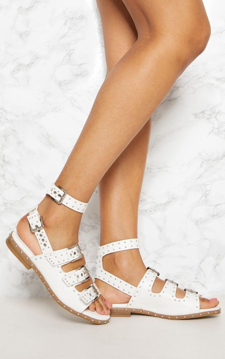 White Studded Buckle Sandal