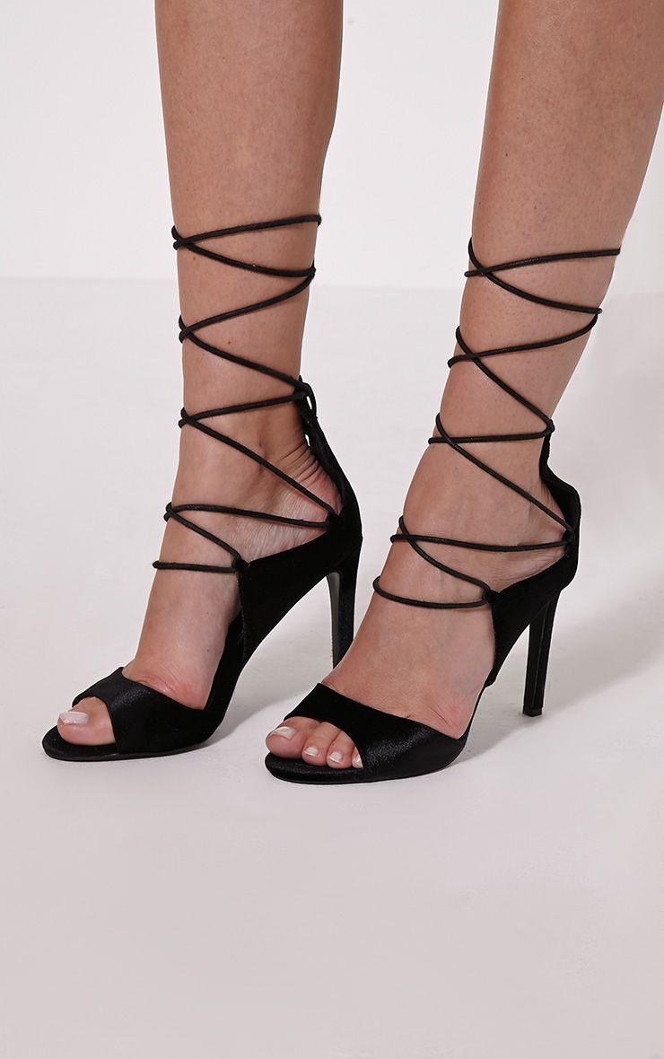 Heidey Black Velvet Lace Up Heels 1