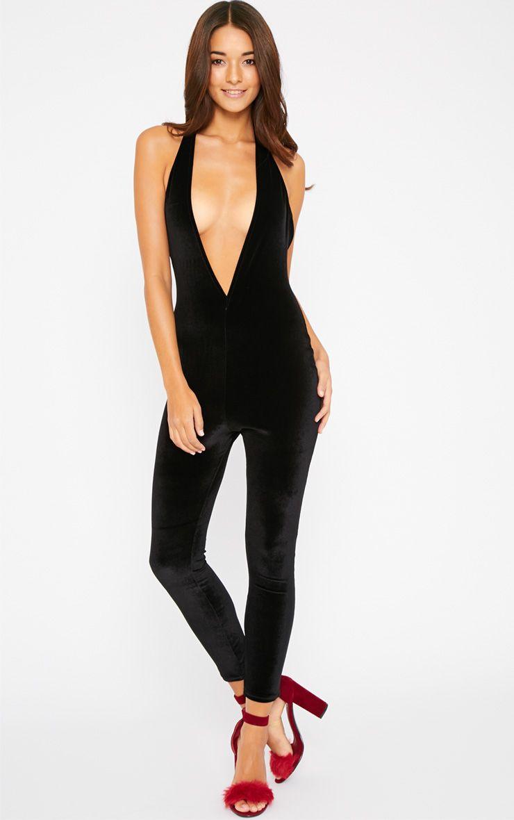 Rika Black Halterneck Velvet Jumpsuit  1