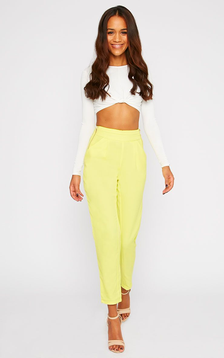 Breanna Yellow Tailored Linen Trousers 1
