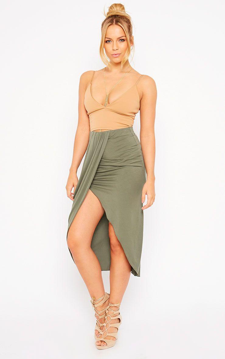 Ivana Khaki Drape Midi Skirt 1
