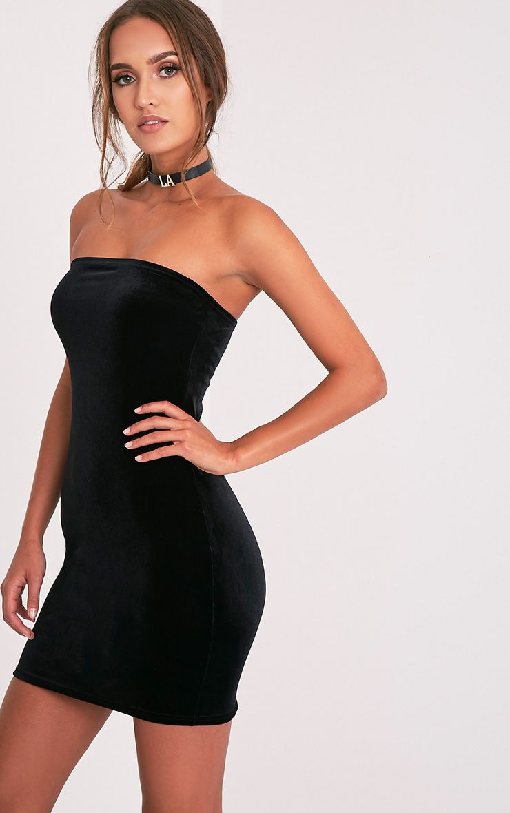 Shany Black Velvet Bandeau Bodycon Dress 1