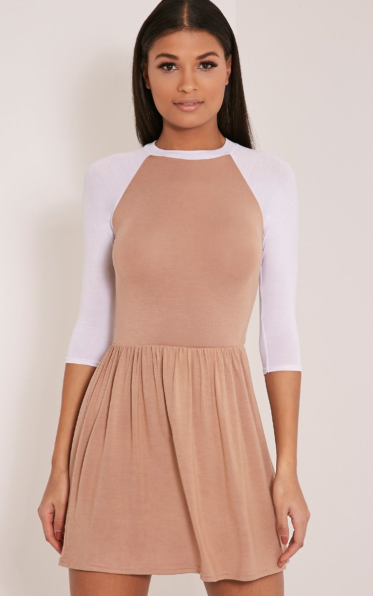 Amania Camel Raglan Sleeve Skater Dress 1