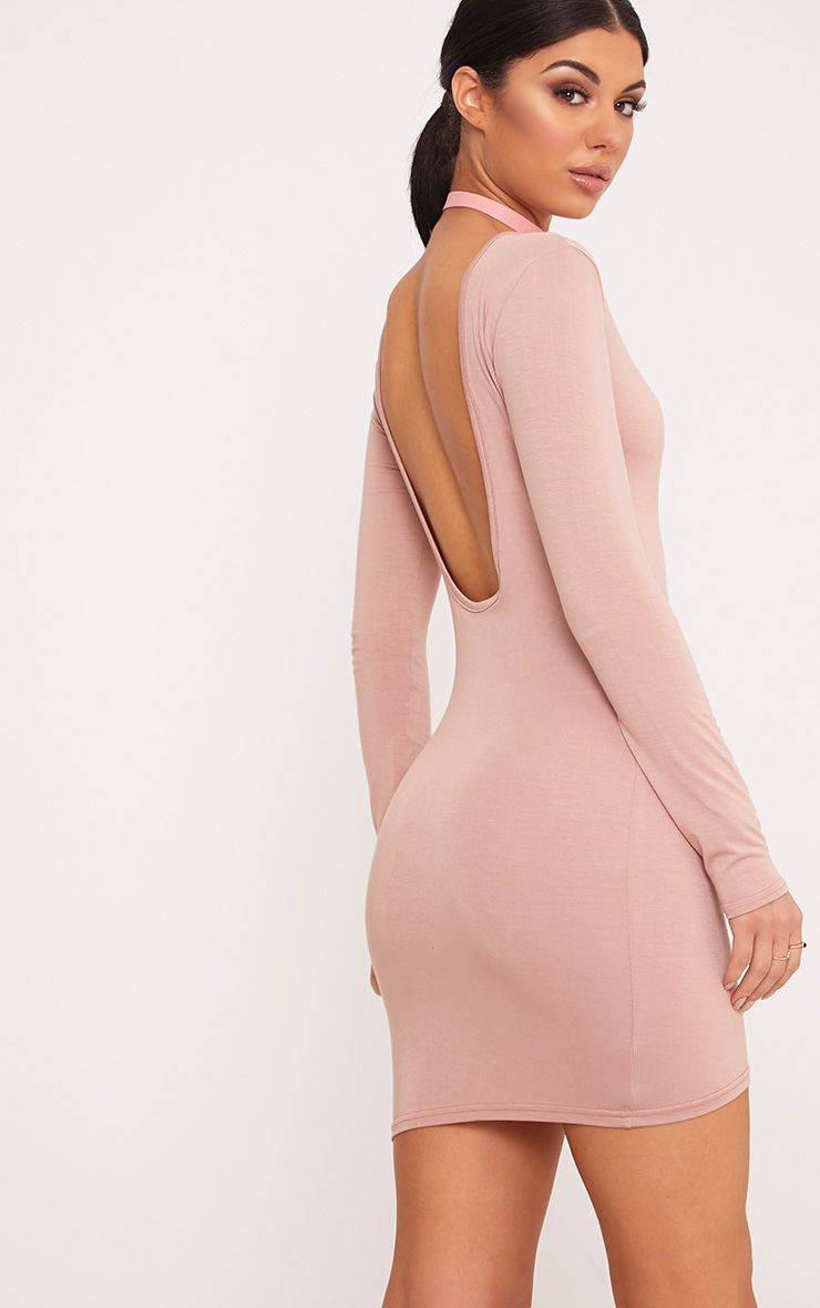 Basic Scoop Nude Back Bodycon Dress