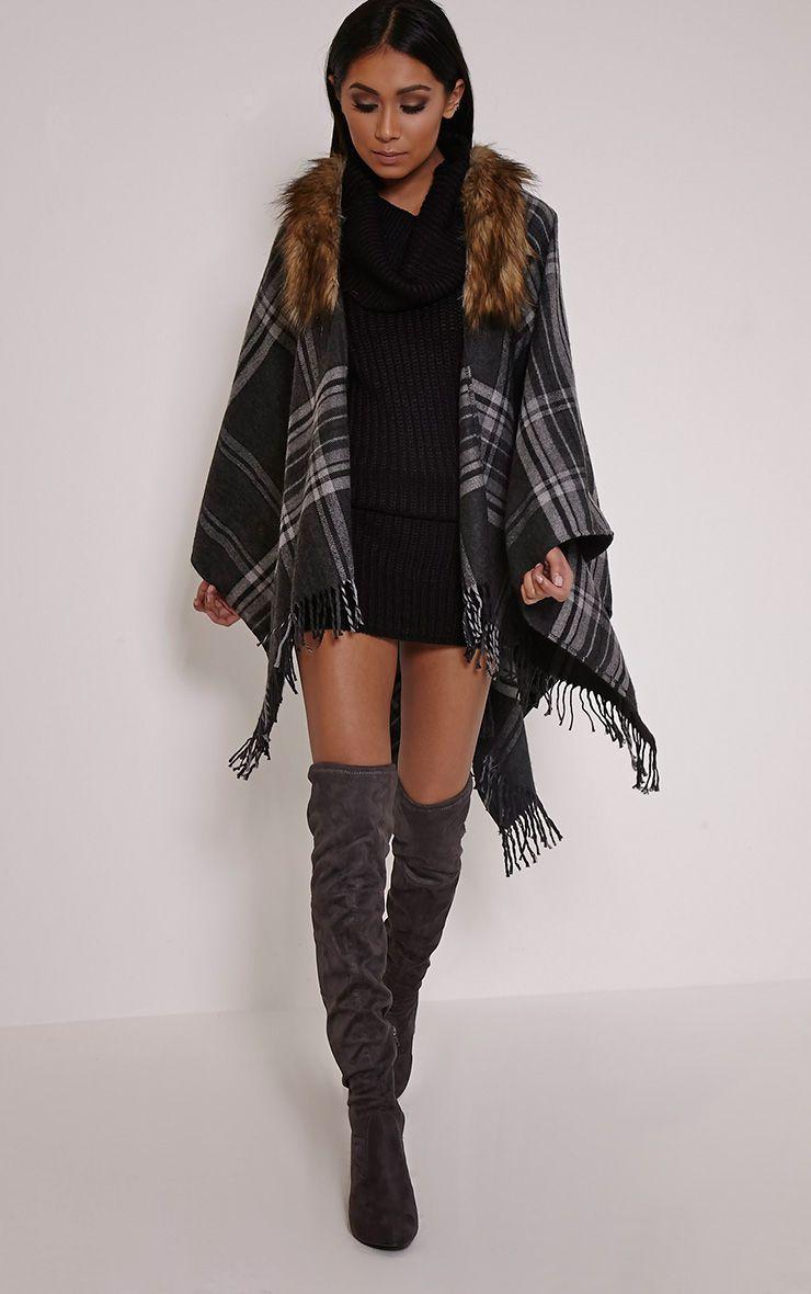Stacey Grey Tartan Fur Collar Shawl 1