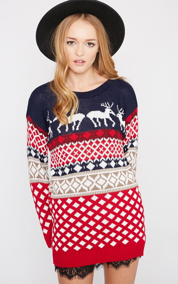 Leona Reindeer Fairisle Christmas Jumper-L/XL 1