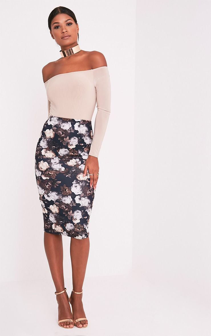 Francesca Brown Floral Print Midi Skirt