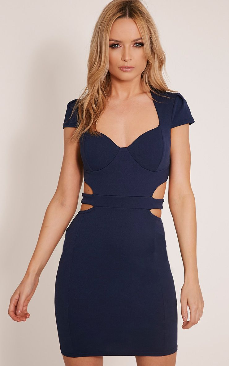 Monica Navy Capped Sleeve Crepe Panel Bodycon Dress 1