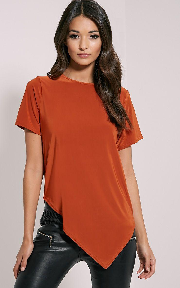 Meimei Rust V Hem Slinky T-Shirt 1