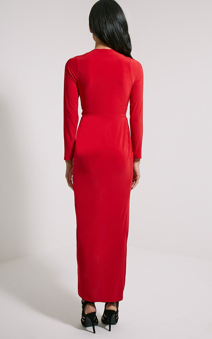 Bex Red Cut Out Maxi Dress - Dresses
