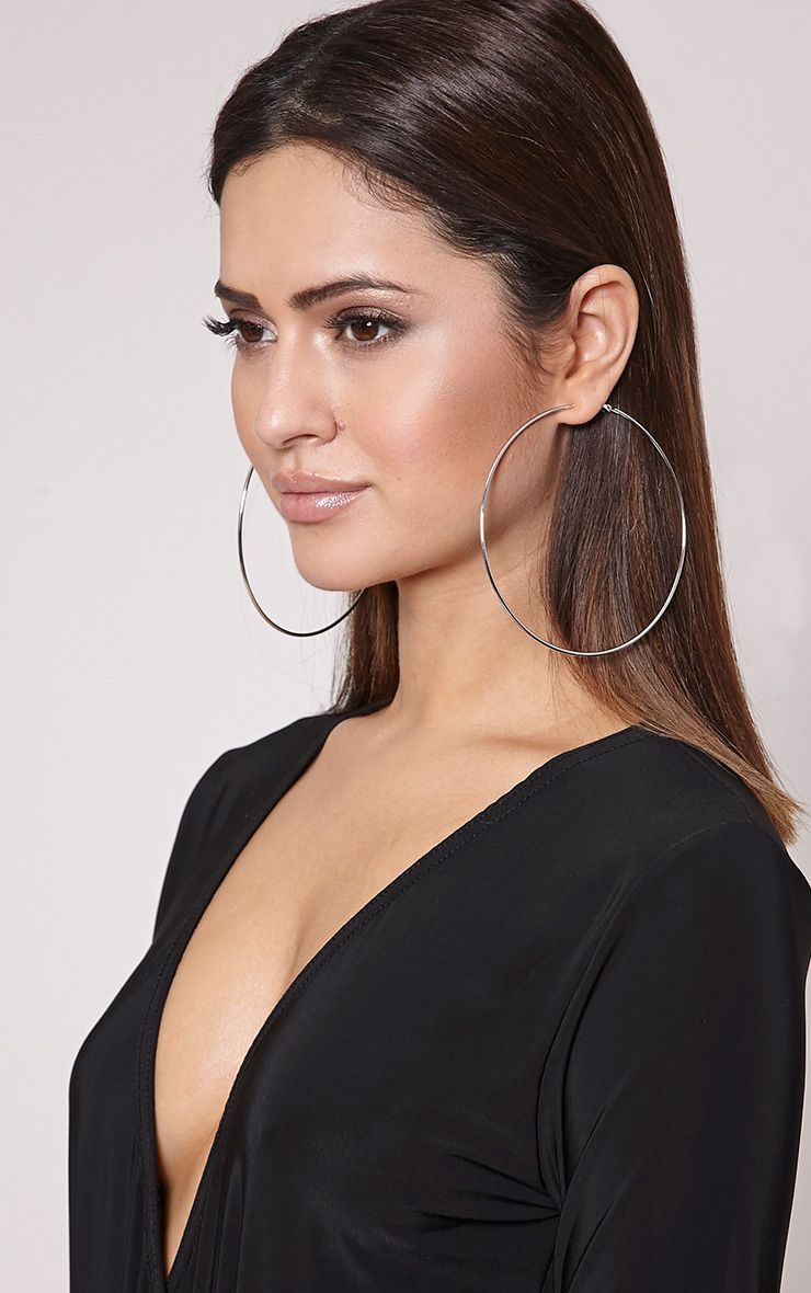 Jessah Silver Large Hoop Earrings