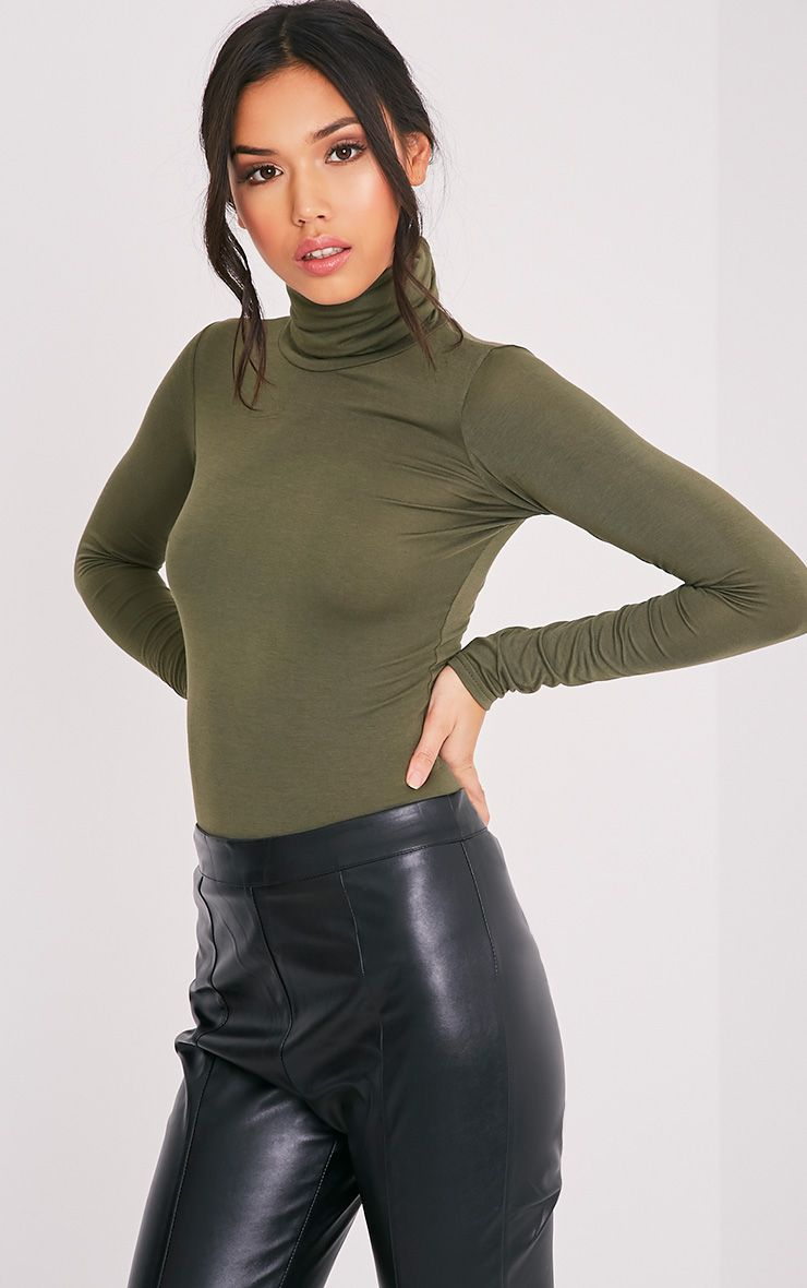 Basic Khaki Long Sleeve Roll Neck Top