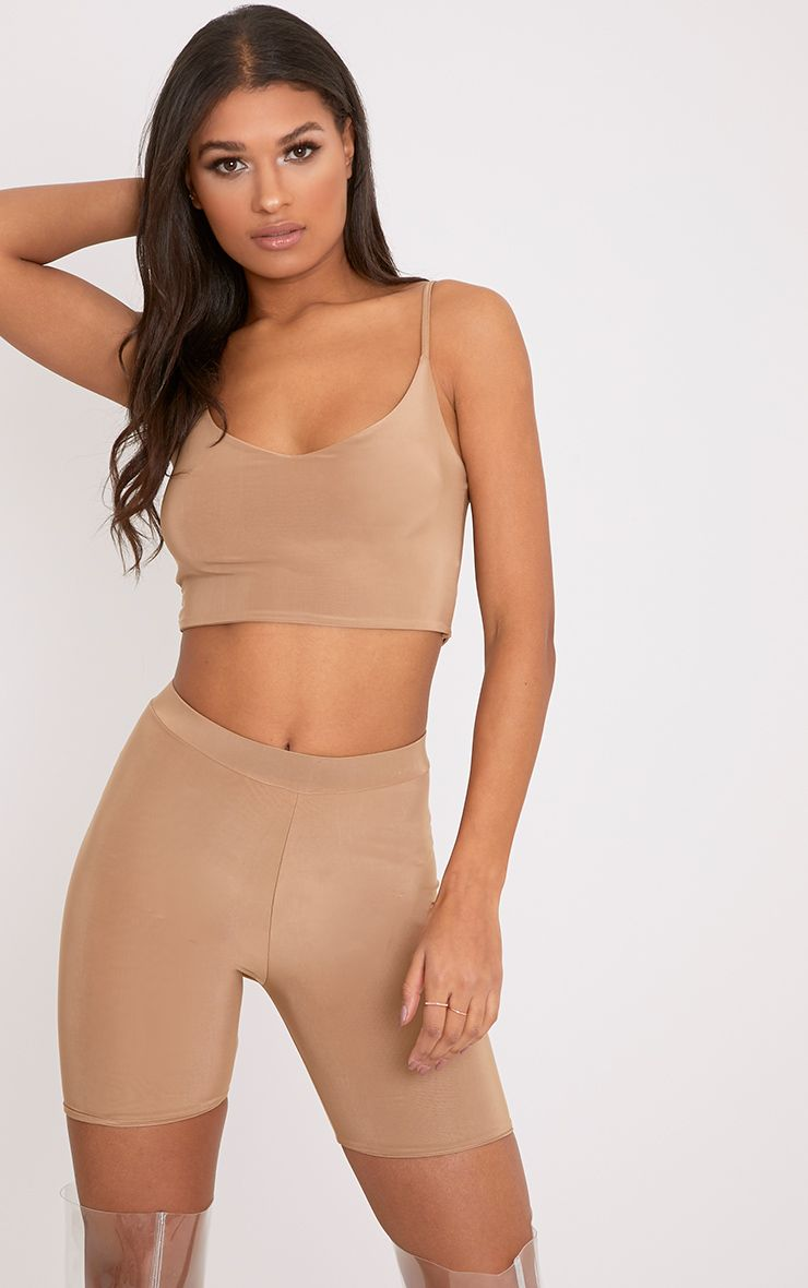 Bella Camel Slinky Cami Crop Top