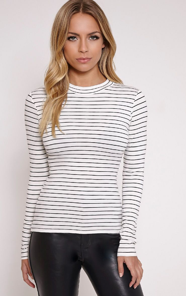 Jae Cream Striped Jersey Turtle Neck Top 1
