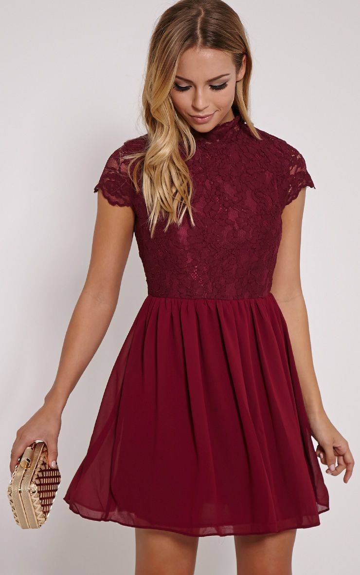 Ella Burgundy High Neck Lace Skater Dress