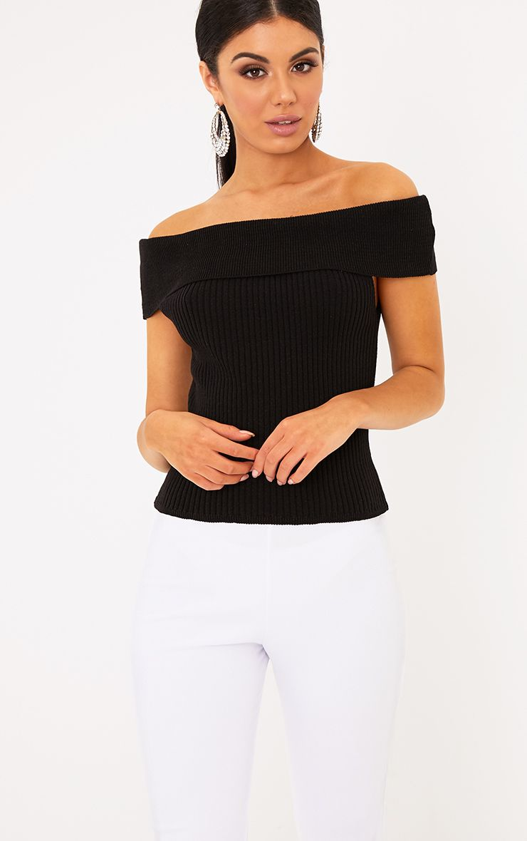 Adah Black Knitted Bardot Crop Top