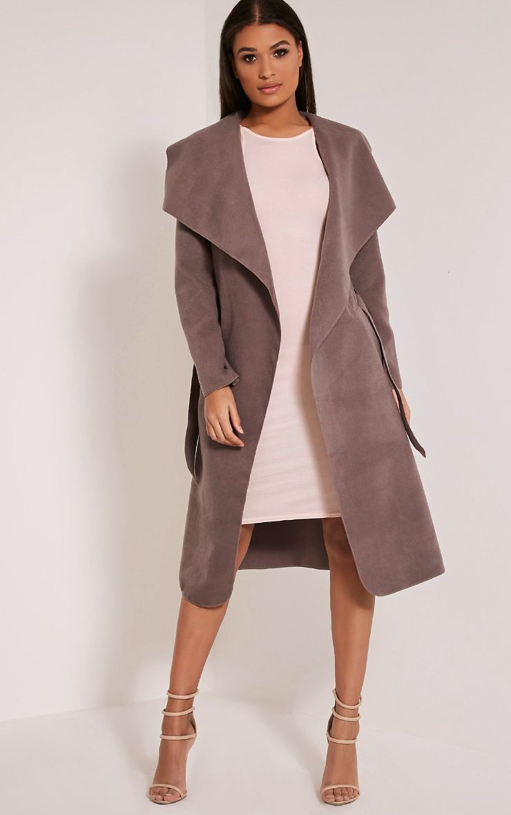 Veronica Latte Oversized Waterfall Belt Coat