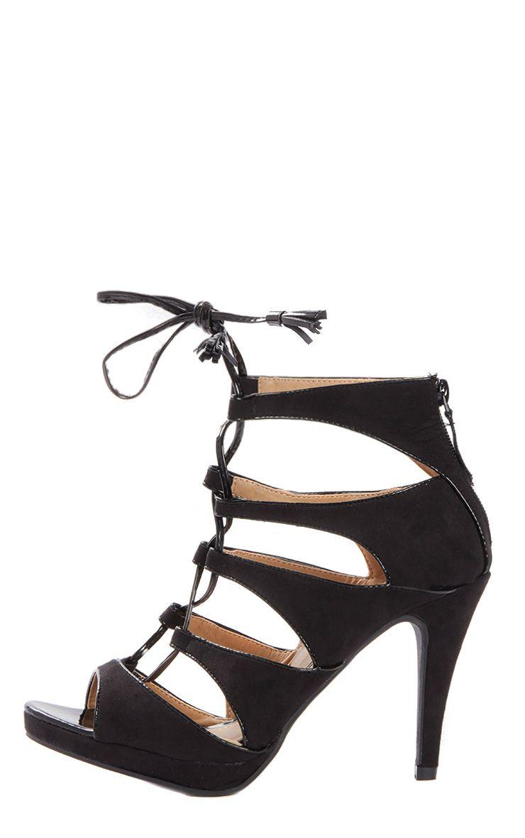 Serafina Black Suede Lace Up Heel  1