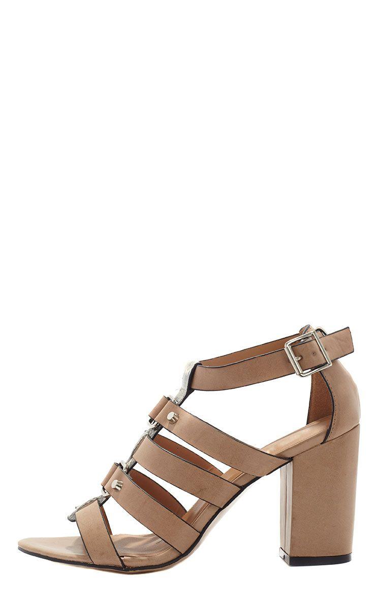 Anais Taupe Gladiator Snake Strap Heeled Sandal  1