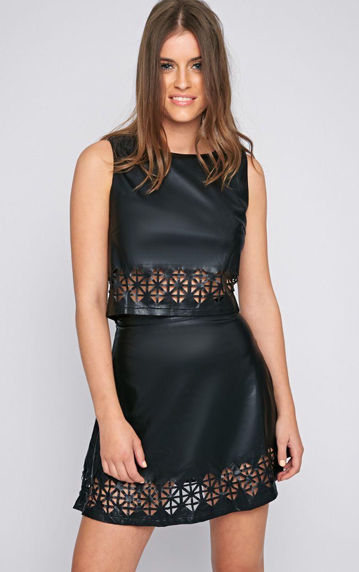 Amiya Black Cut Out Leather Crop Top  1