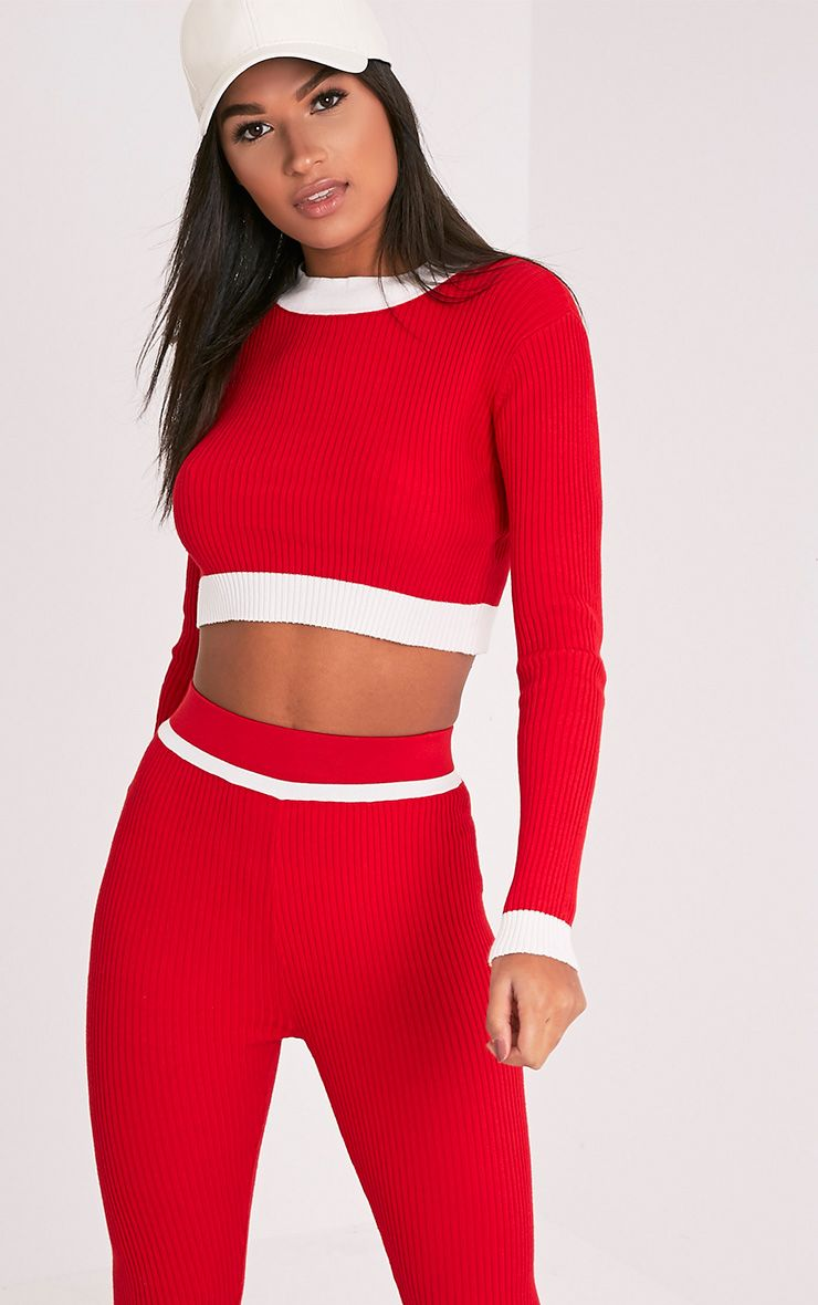 Sufiya Red Colour Blocked Knit Ribbed Crop