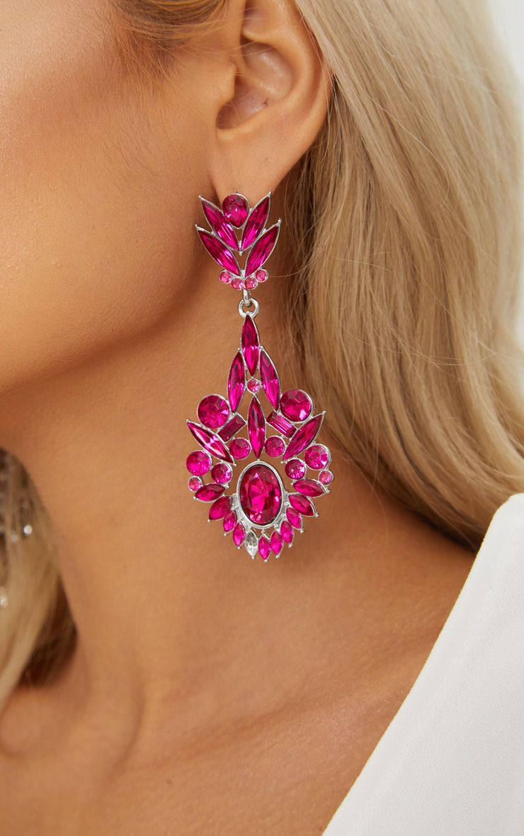 Bright Pink Diamante Detail Drop Earrings