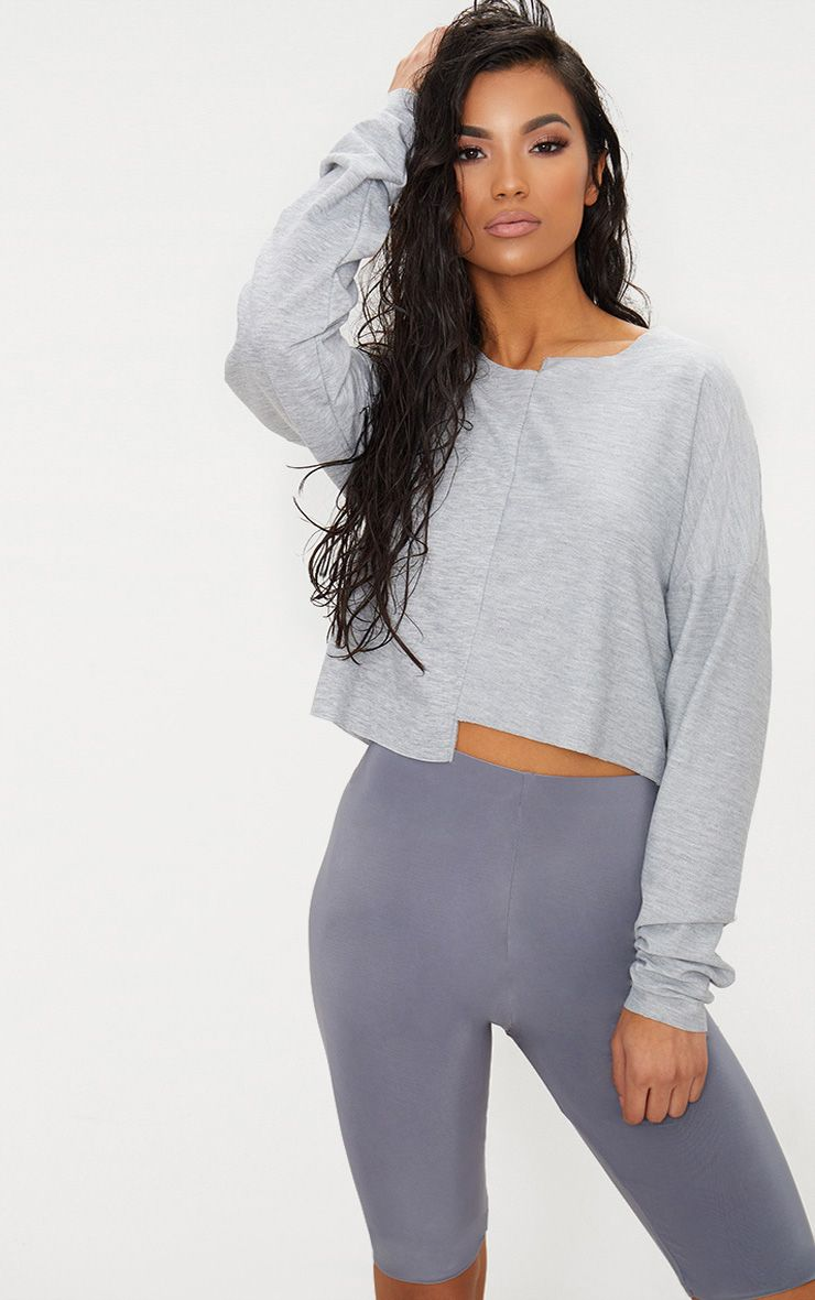 Grey Marl Step Hem Detail Sweater