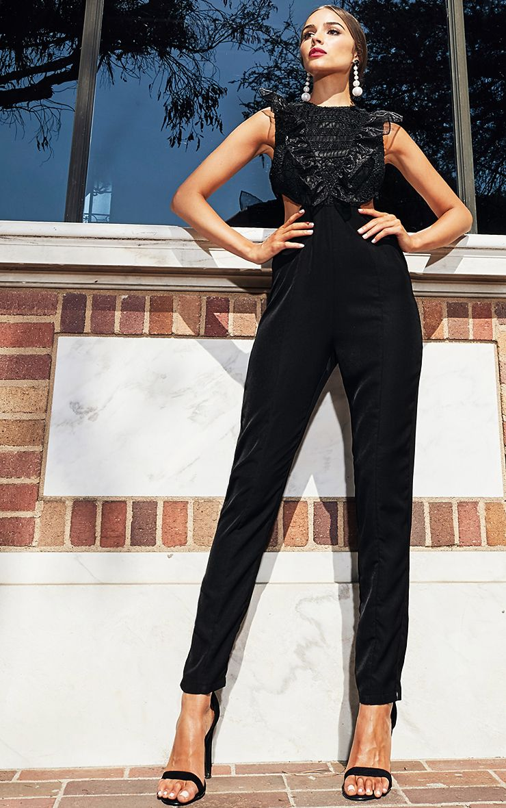 Black Mesh Shoulder Cut Out Detail Jumpsuit