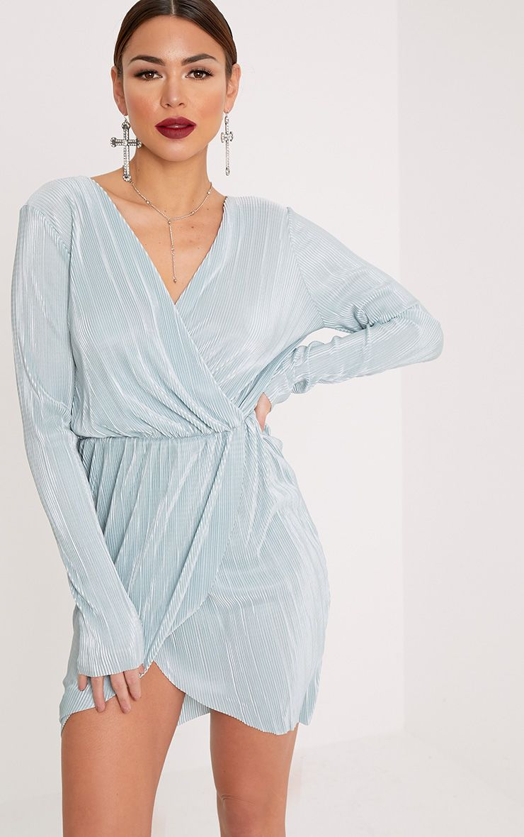 Eron Sage Green Plunge Wrap Pleated Dress
