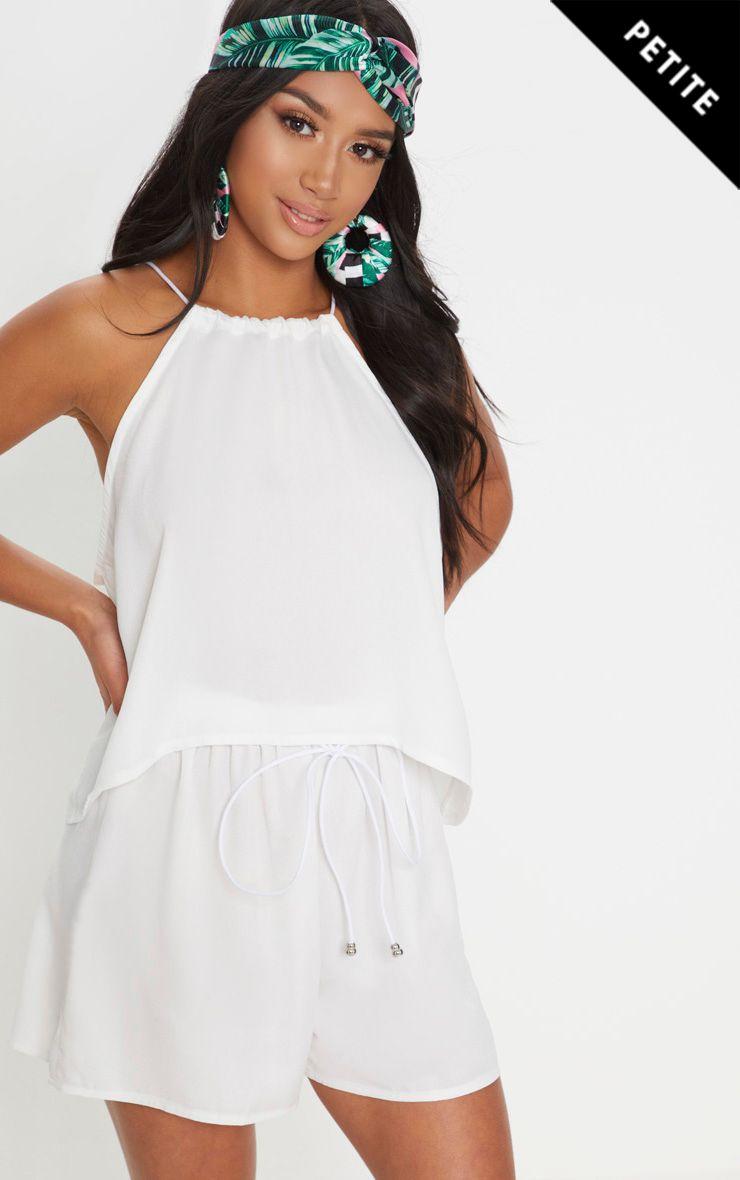 Petite White Floaty Shorts