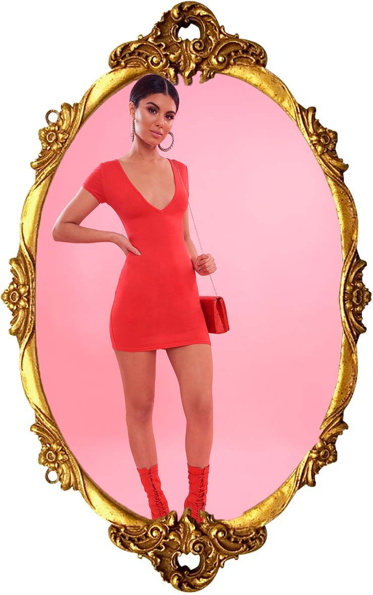 Red Plunge Front Cap Sleeve Bodycon Dress