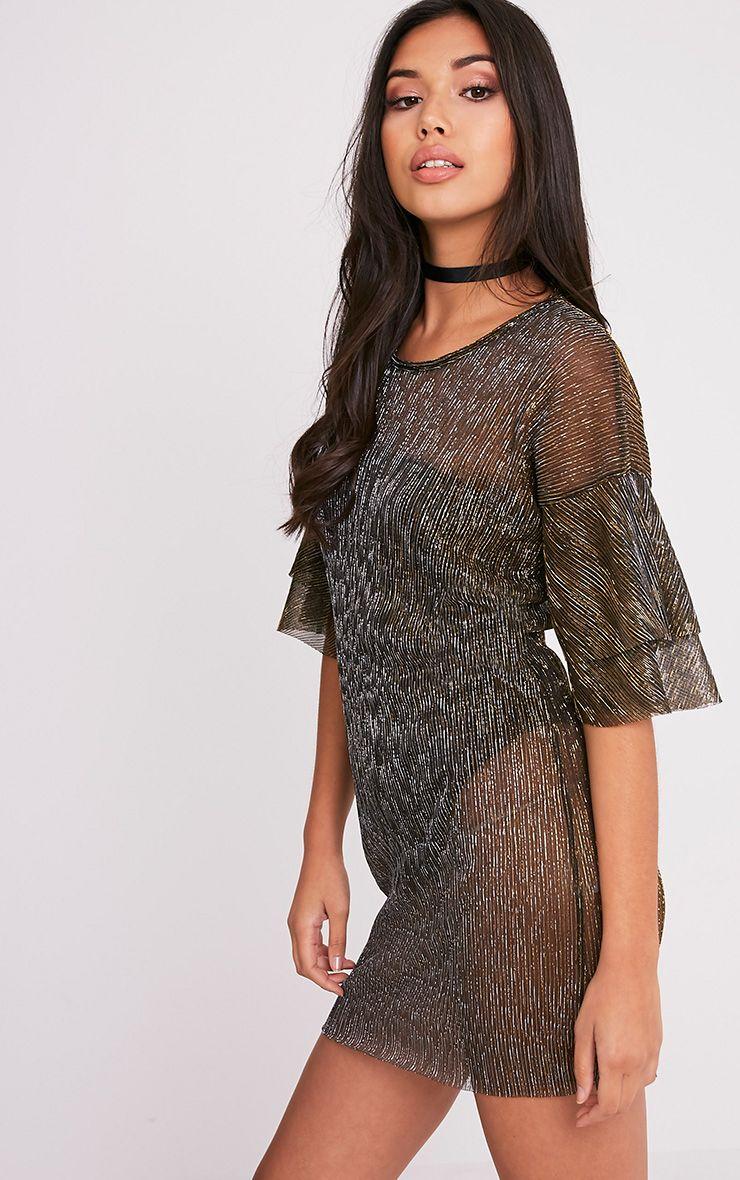 Savanah black pleated glitter t shirt dress dresses for Black pleated dress shirt