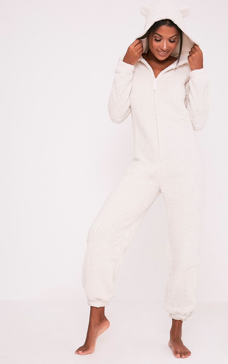 White Sherpa Fleece Onesie 1