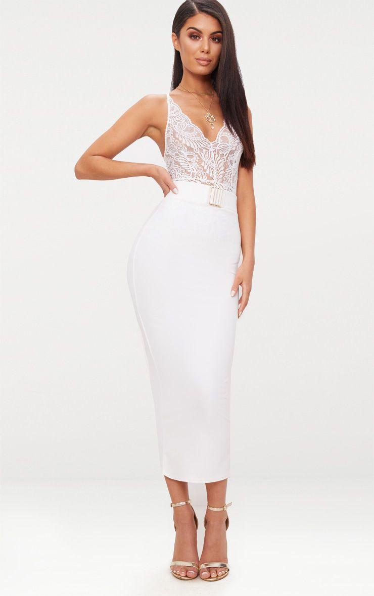 White Belt Trim Detail Midaxi Skirt