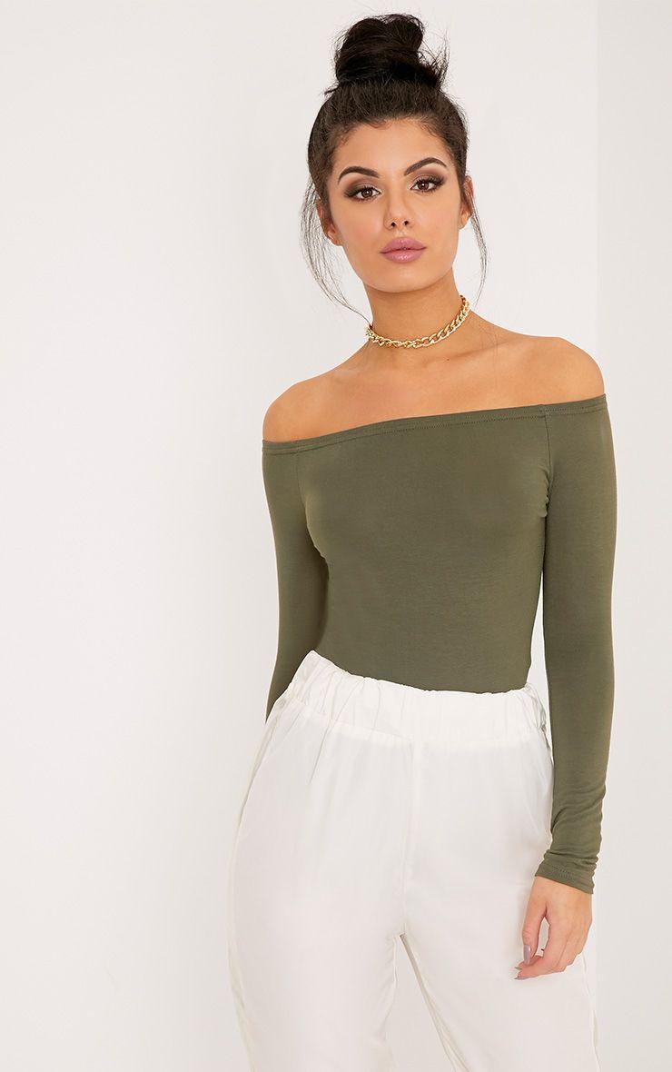 Basic Khaki Bardot Bodysuit