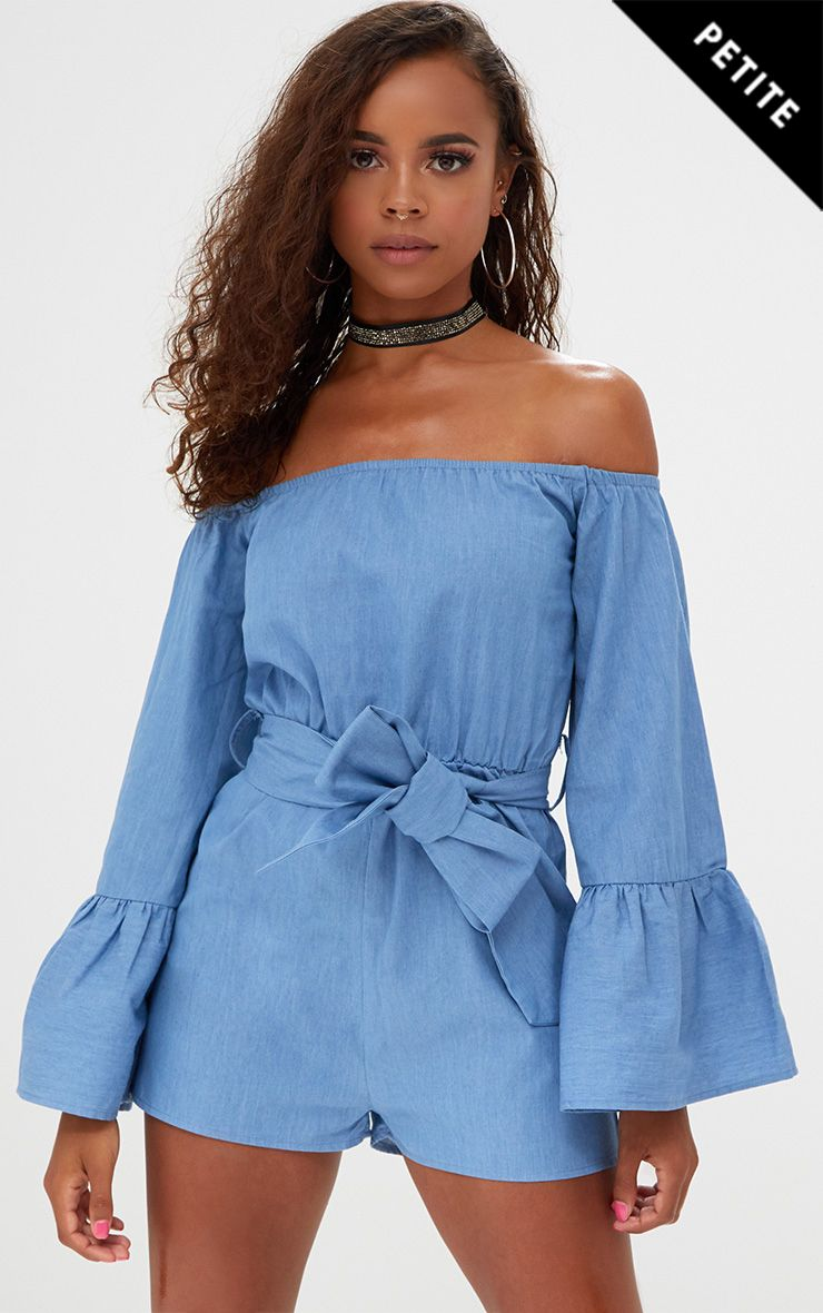 Petite Blue Chambray Flare Sleeve Playsuit