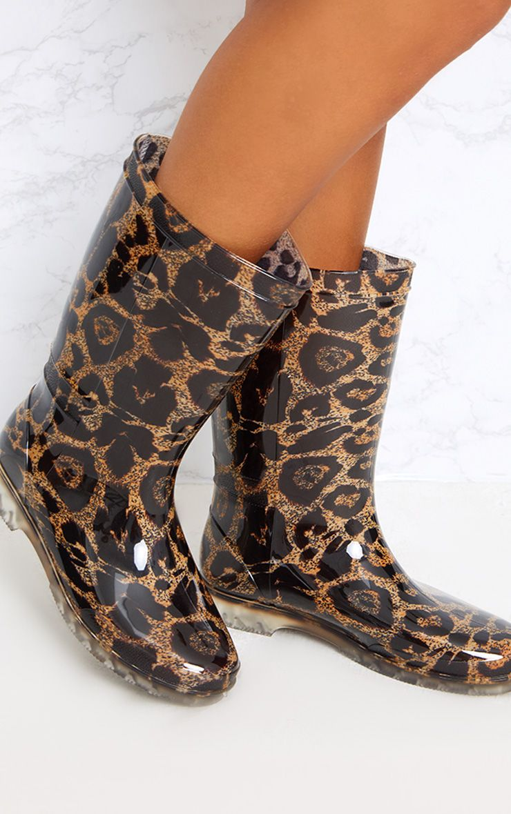 Brown Leopard Print Short Wellies