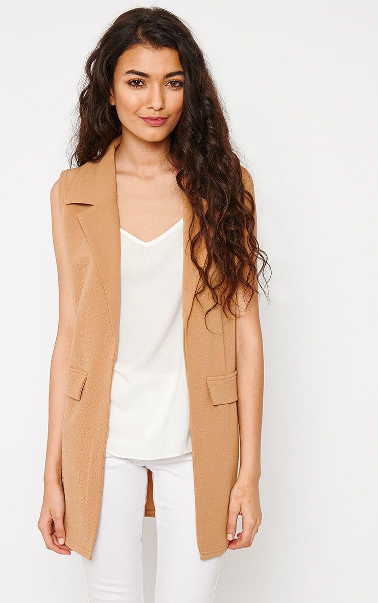 Riti Camel Sleeveless Blazer 1