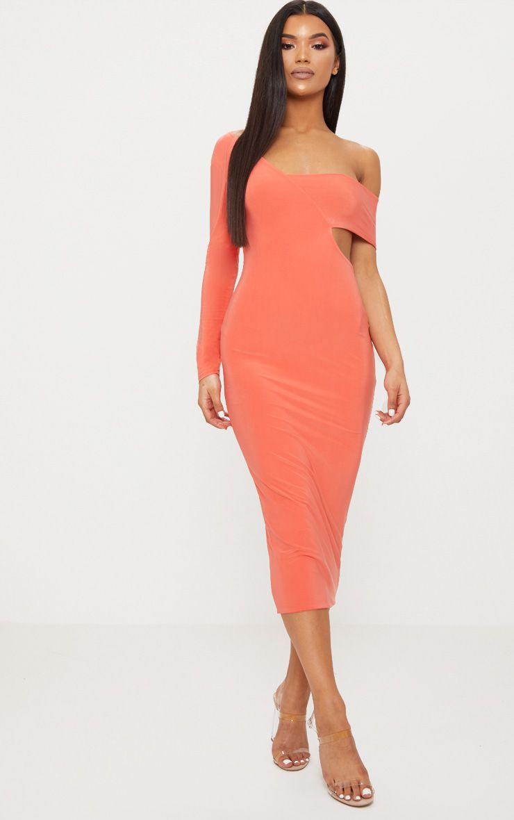 Coral Double Layer Slinky One Sleeve Strap Detail Midaxi Dress