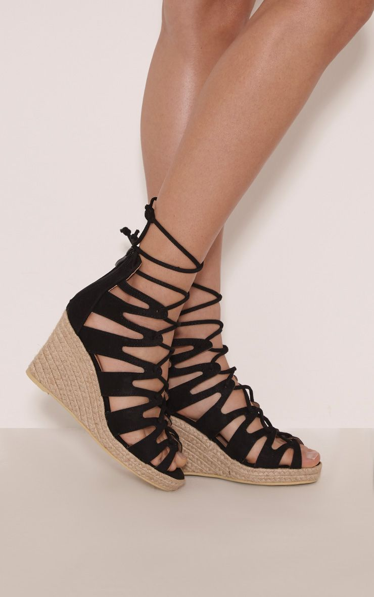 Oriana Black Faux Suede Lace Up Wedges 1