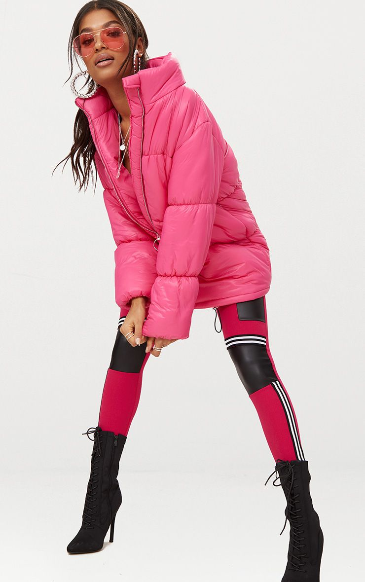 Bright Pink Ring Pull Longline Puffer Jacket 1