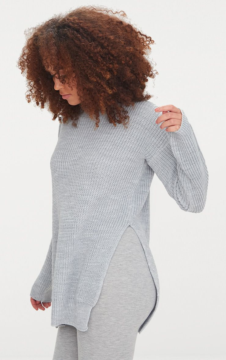 Rexx Grey Round Neck Side Split Jumper