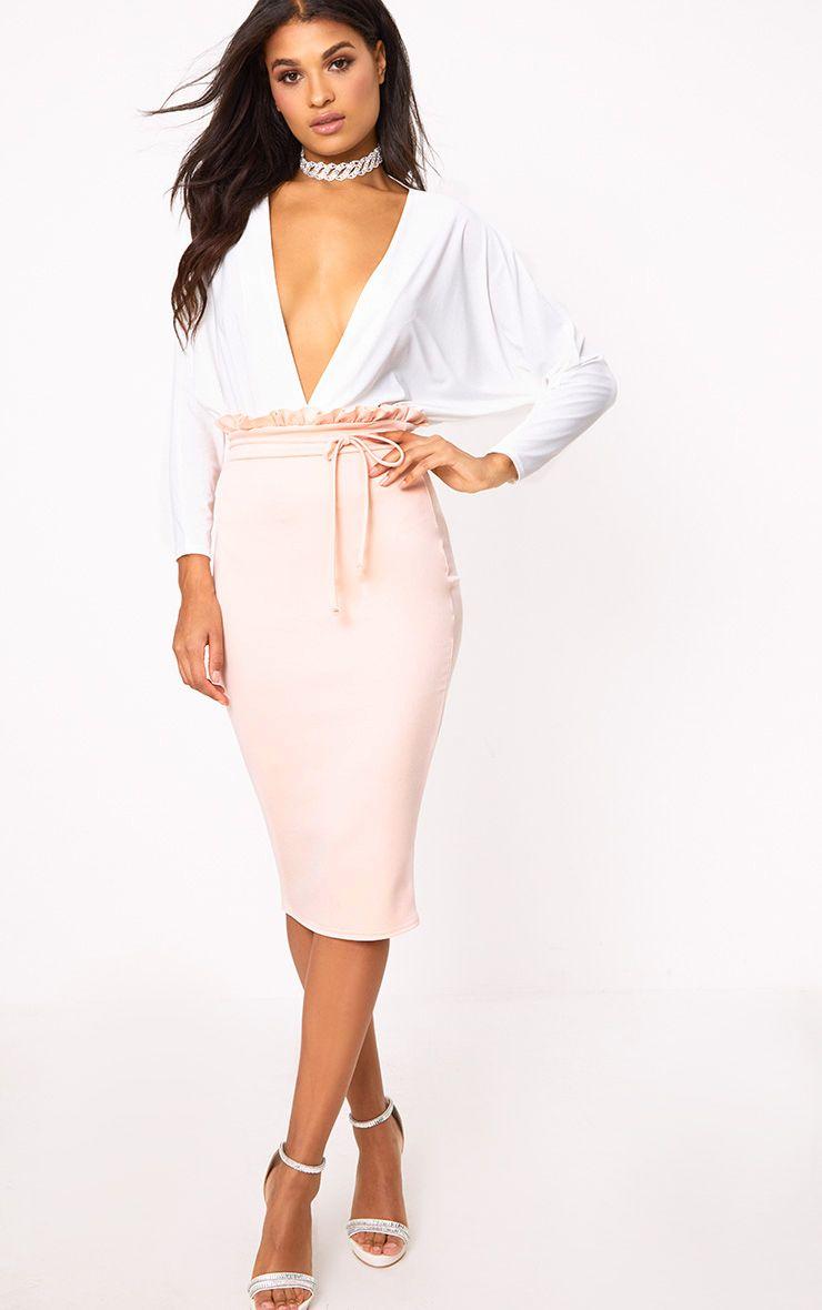 Blush Paperbag Waist Midi Skirt