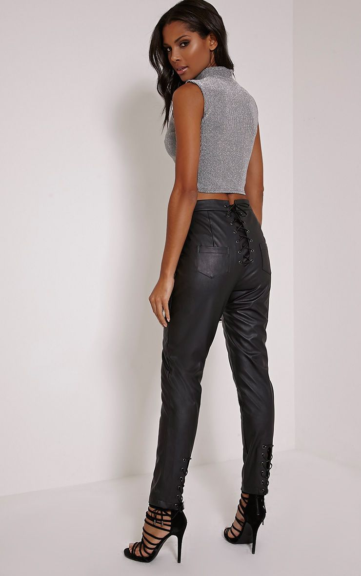 Genesis Black Lace Up Detail Faux Leather Trousers 1
