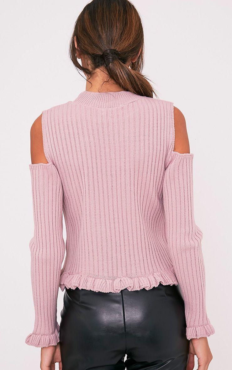 Sophiann pull détail ruches épaules dénudées blush 2